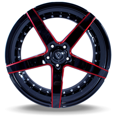 M3226 Marquee Wheel Black Face Red Milled
