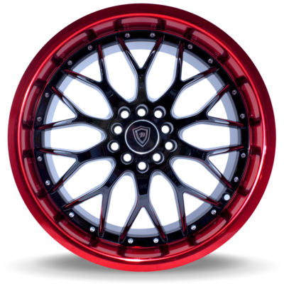 W503 black center red lip front wheel